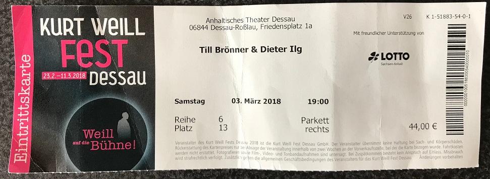 Till Brönner und Dieter Ilg zum Kurt Weill Fest in Dessau 2018 - Ticket