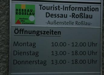 Öffnungszeiten Touristeninformation Roßlau 2009