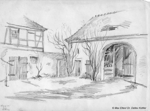 Der Pfarrhof, links der ehemalige Pferdestall (jetzt Garage), rechts die Toreinfahrt Bleistiftzeichnung Max Elten, Februar 1945