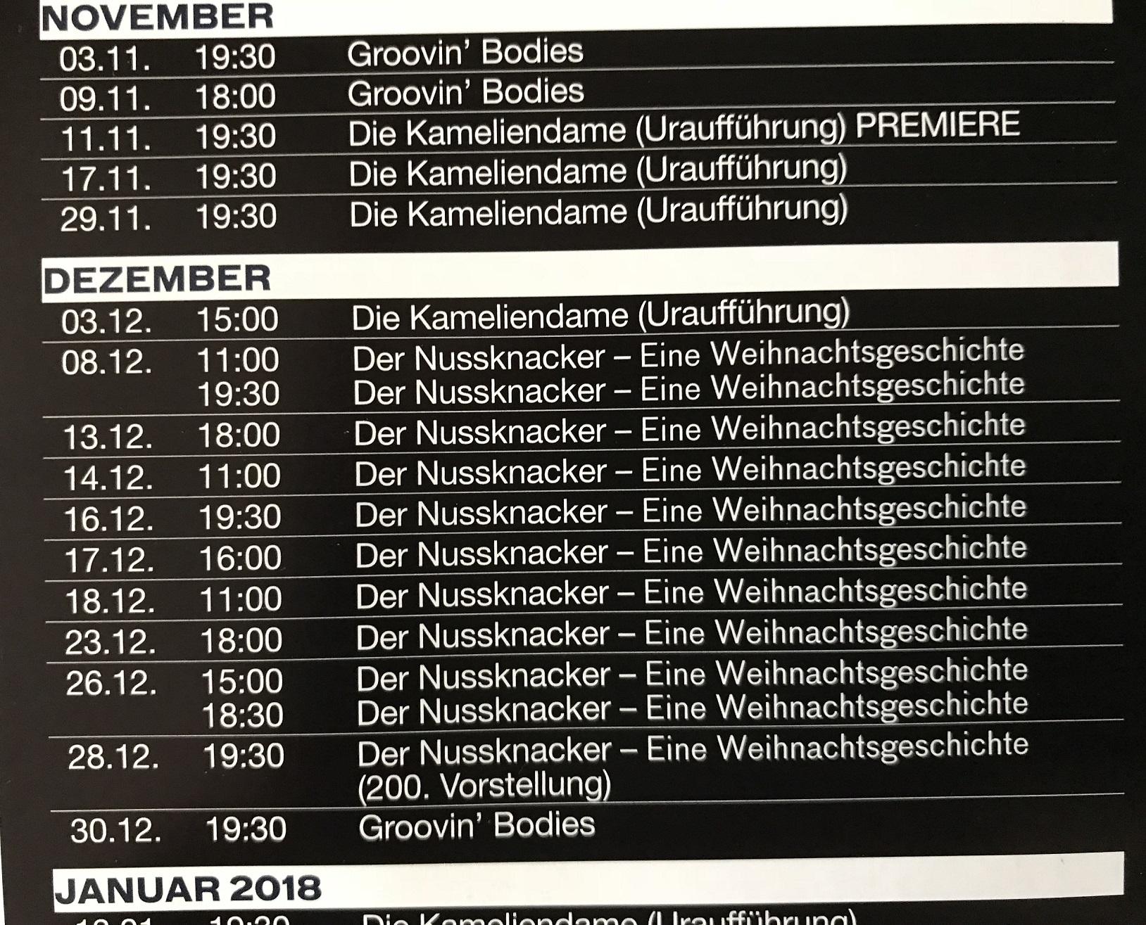 Nussknacker Spielplan 2017